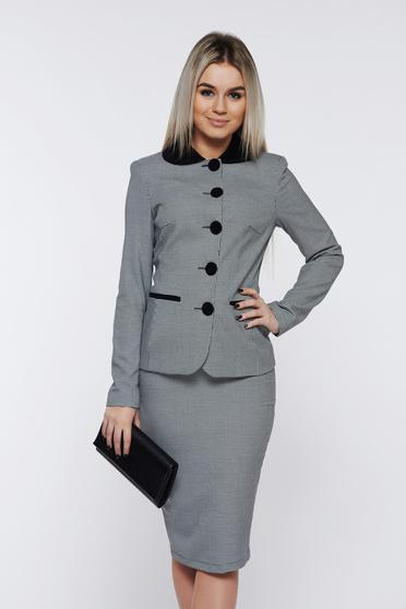 LaDonna white office lady set with inside lining with print details