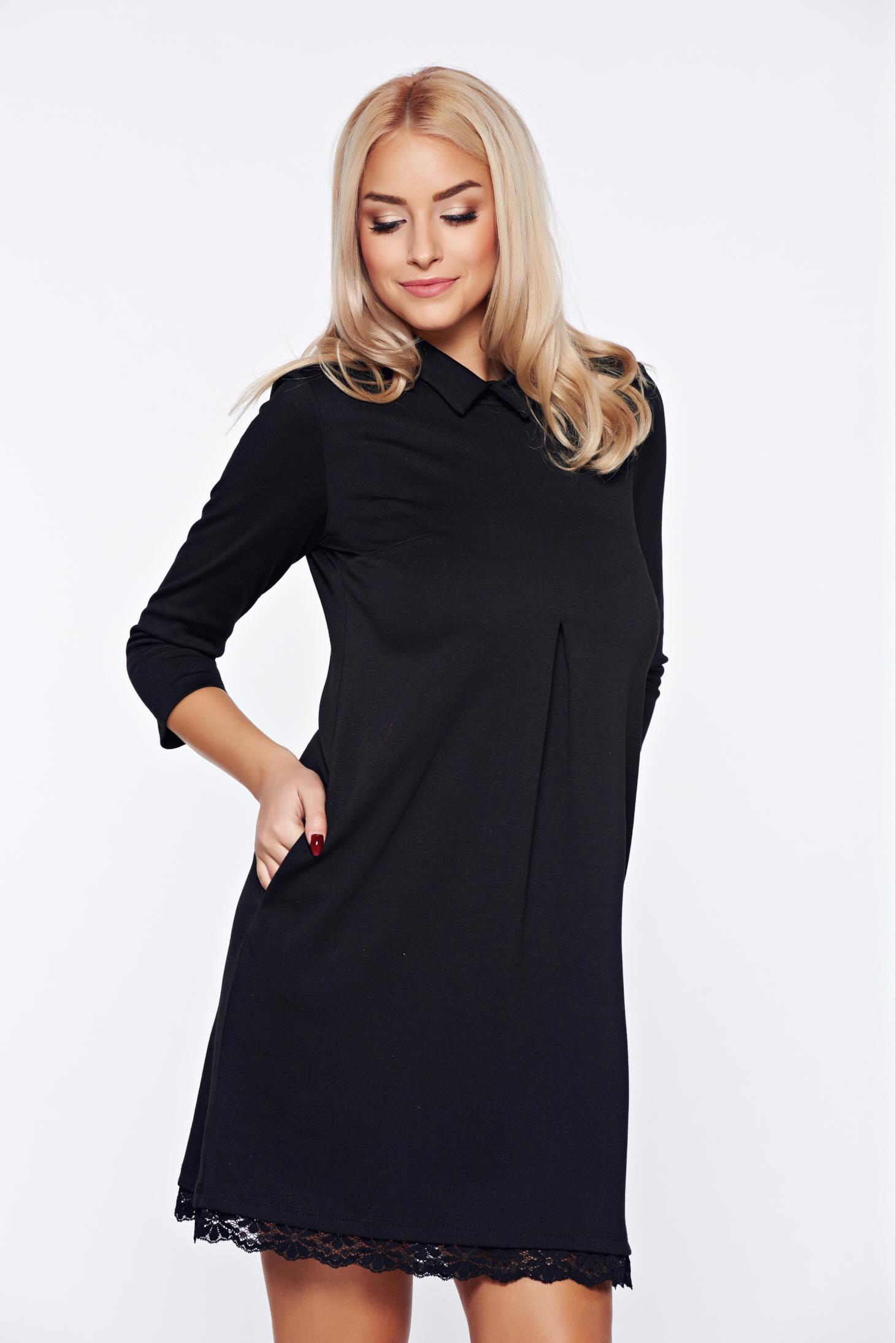 Fekete StarShinerS elegáns a-vonalú ruha csipke díszítéssel f4835aac26