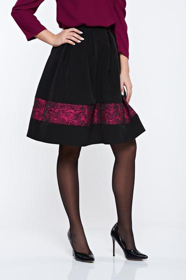 StarShinerS timeless romance elegant cloche black skirt with raised flowers