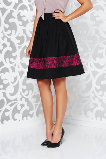 StarShinerS timeless romance elegant cloche black skirt with raised flowers