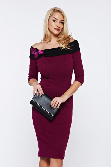 StarShinerS timeless romance occasional purple pencil off shoulder dress