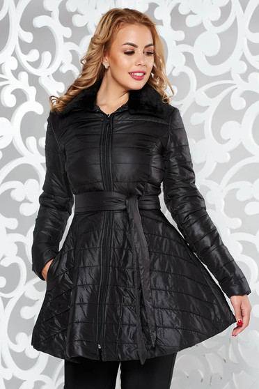 Artista casual black jacket from slicker with pockets accessorized with tied waistband