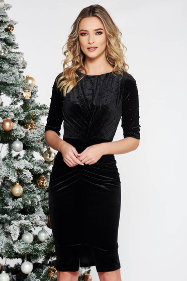 Black occasional dress from velvet with small beads embellished details