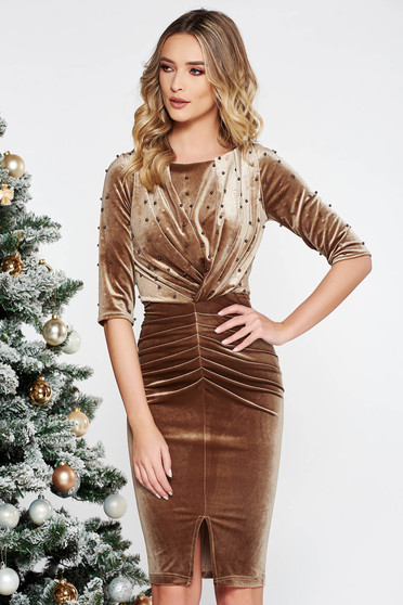 Brown occasional dress from velvet with small beads embellished details