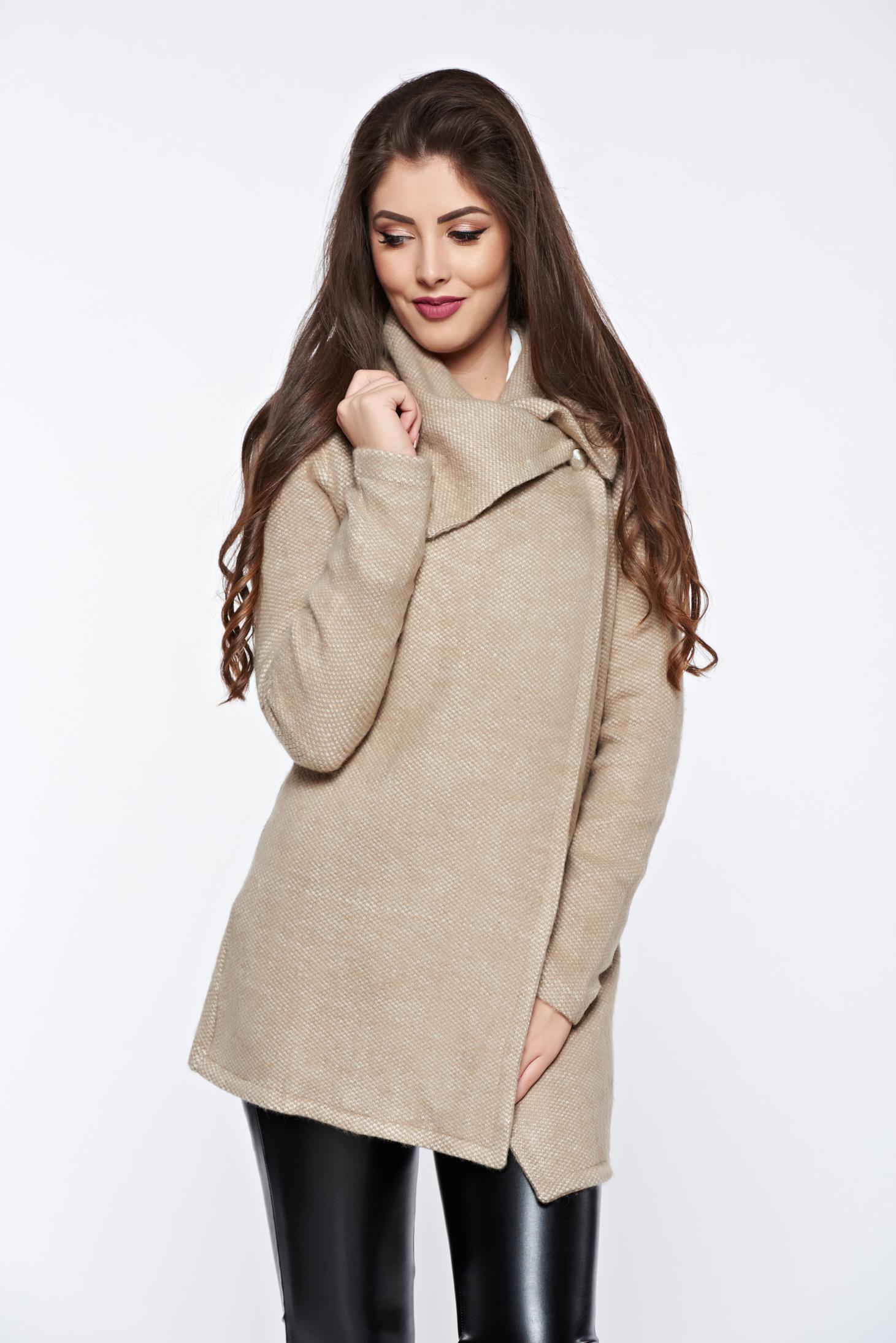 Cardigan PrettyGirl crem casual tricotat din material moale