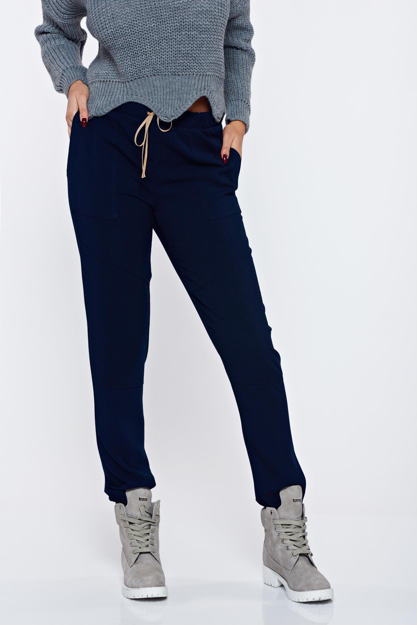 Pantaloni PrettyGirl albastri-inchis casual cu elastic in talie cu croi larg