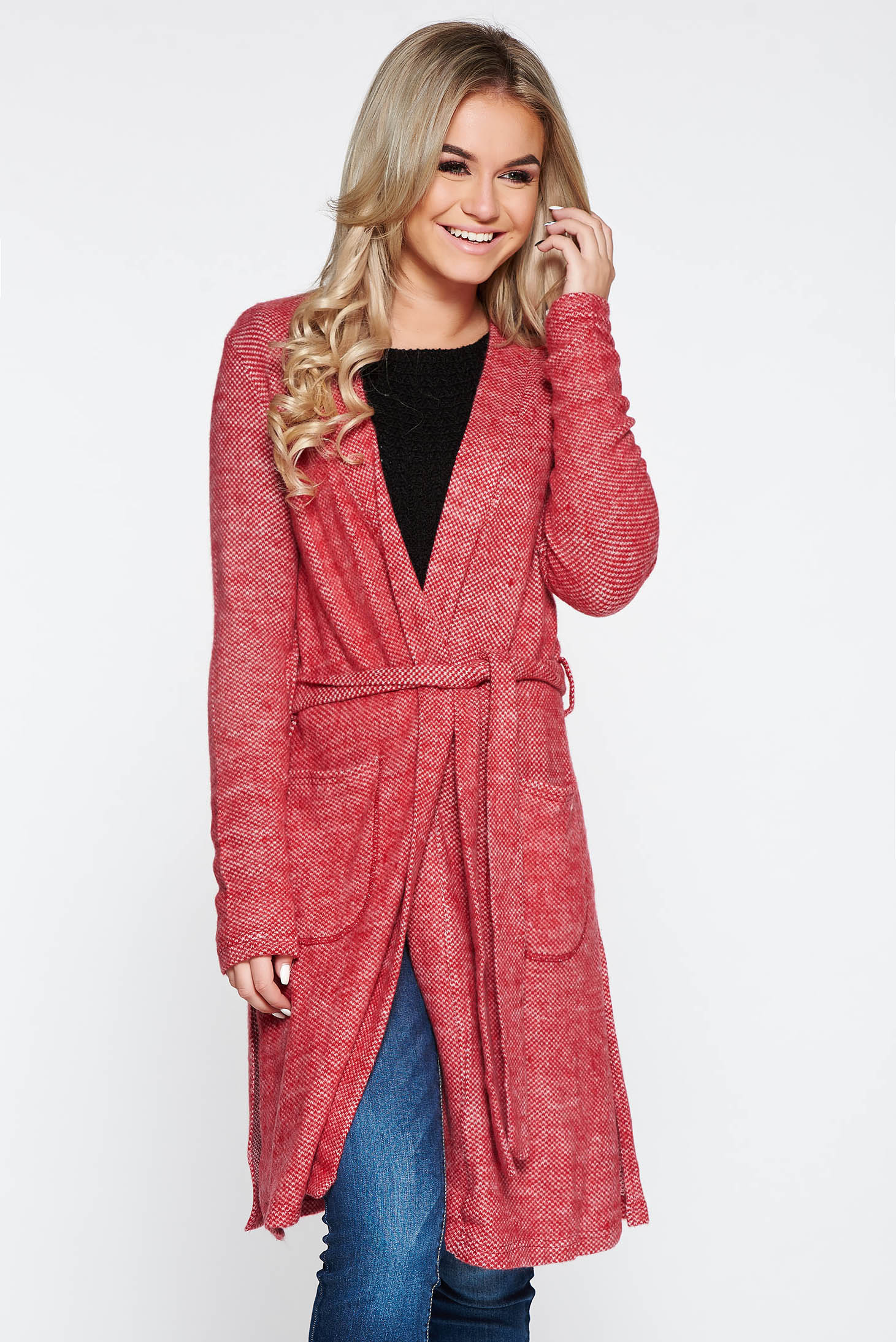 PrettyGirl red knitted cardigan fluffy fabric accessorized with tied waistband