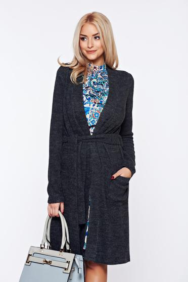 PrettyGirl darkgrey knitted cardigan fluffy fabric accessorized with tied waistband