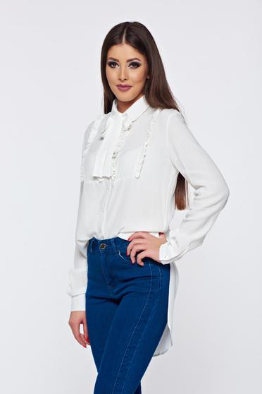 PrettyGirl white voile fabric elegant women`s shirt with ruffles on the chest and asymmetrical cut