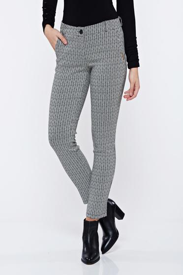 PrettyGirl black office conical trousers with medium waist with graphic print