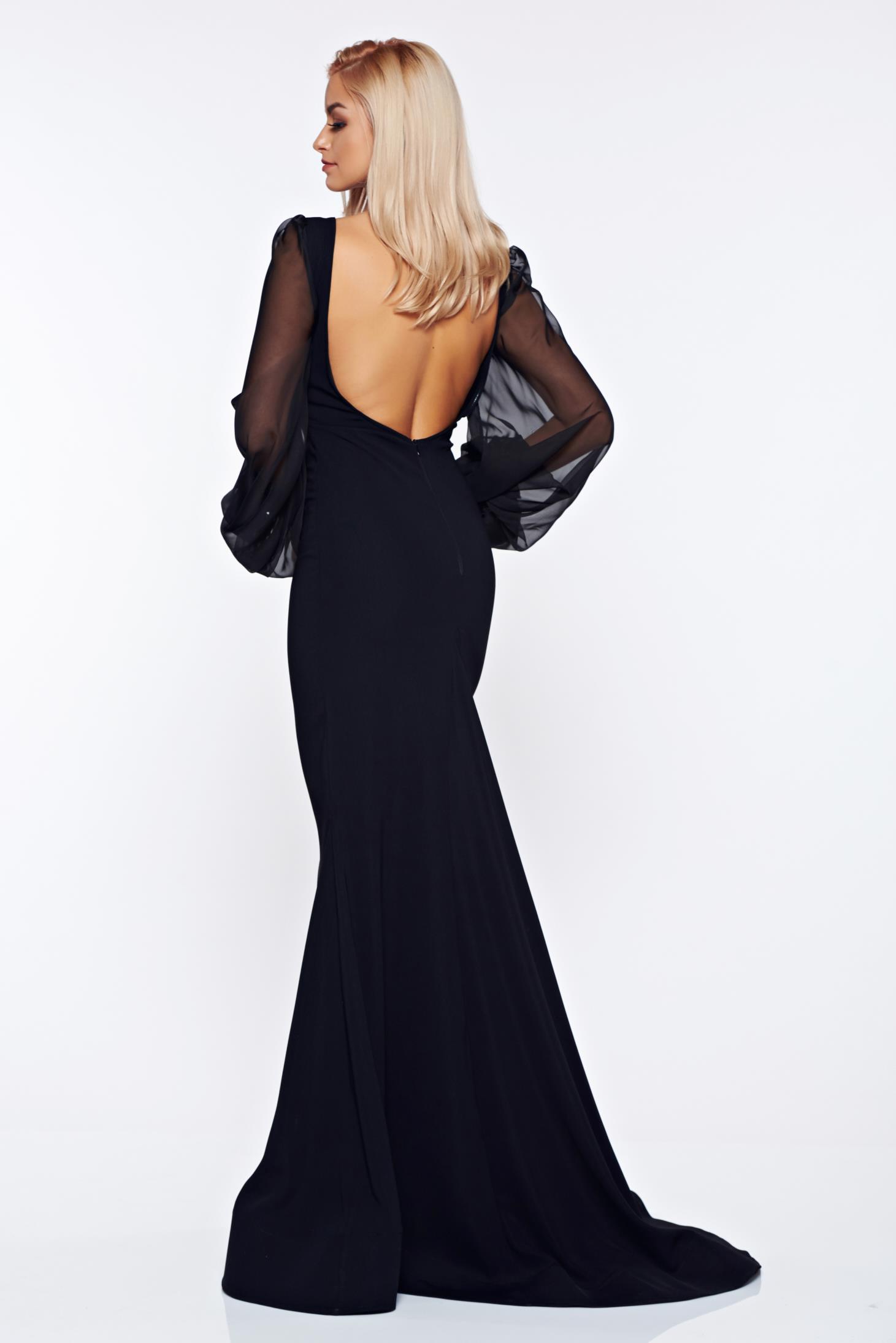 Fekete Ana Radu alkalmi ruha fátyol újjakkal 1bd20b69ff