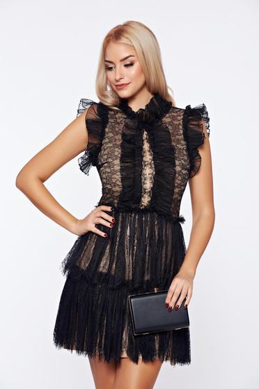 Ana Radu black occasional net dress with lace details