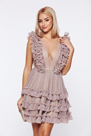 Ana Radu gold occasional dress from tulle with ruffle details