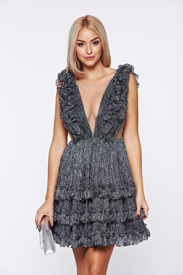 Ana Radu silver occasional dress from tulle with ruffle details