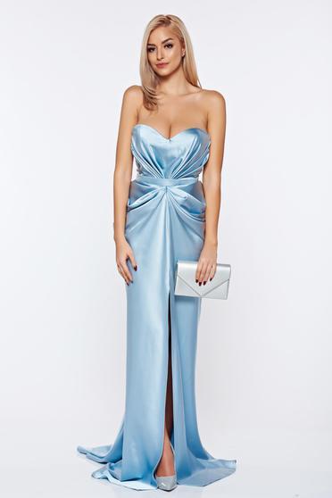 Ana Radu asymmetrical lightblue dress with push-up bra from wrinkled fabric