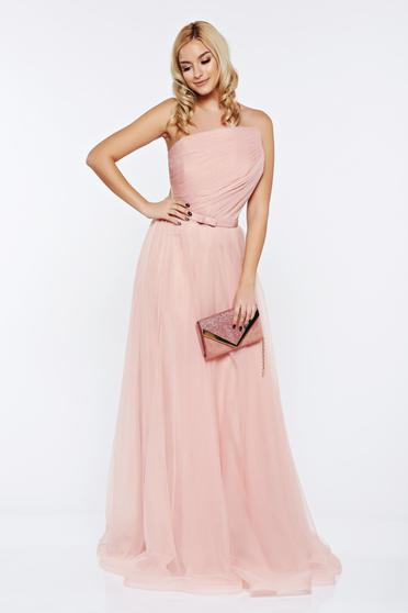 Ana Radu peach occasional dress from tulle with tie back belt