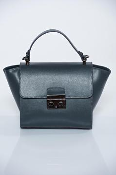 Grey casual natural leather bag with a compartment with internal pockets
