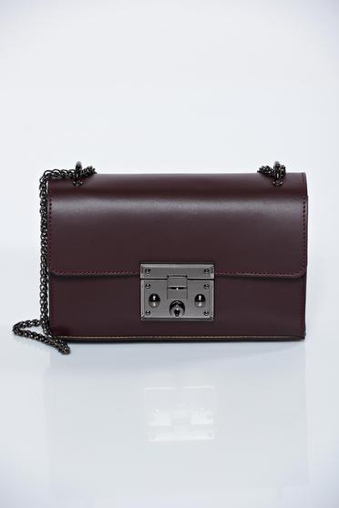 Burgundy natural leather casual bag metallic chain accessory