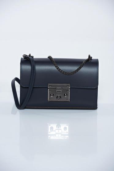 Blue natural leather casual bag metallic chain accessory