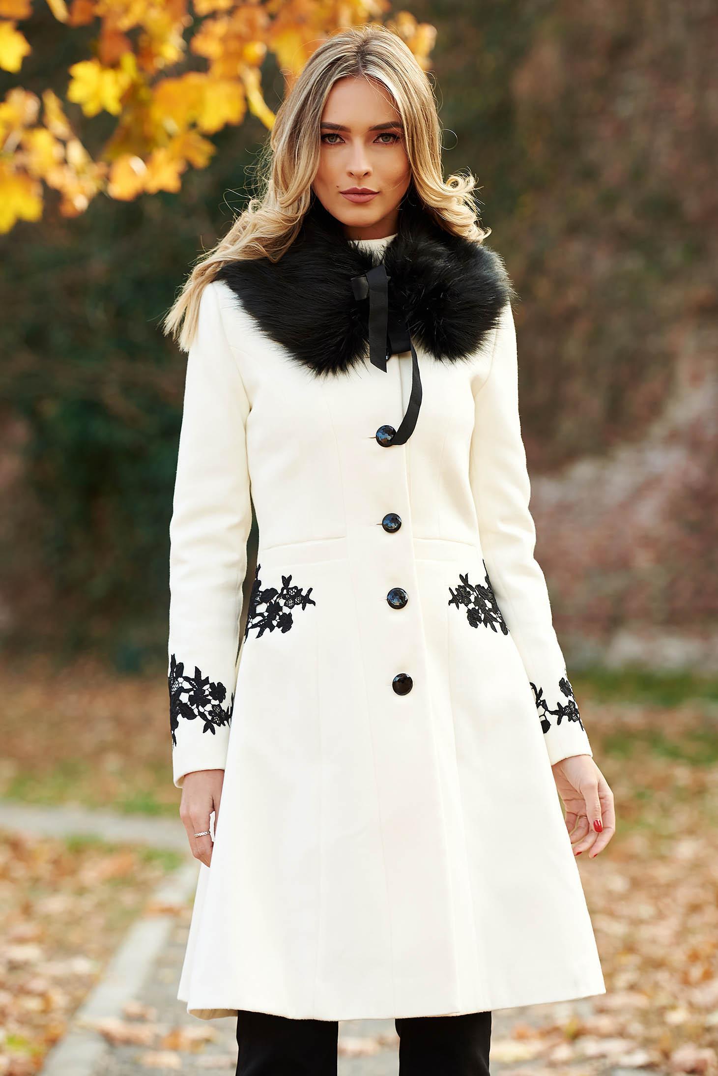 Palton alb StarShinerS best impulse elegant din lana cu insertii de broderie captusit pe interior