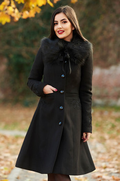 LaDonna best impulse elegant embroidered from wool with inside lining black coat