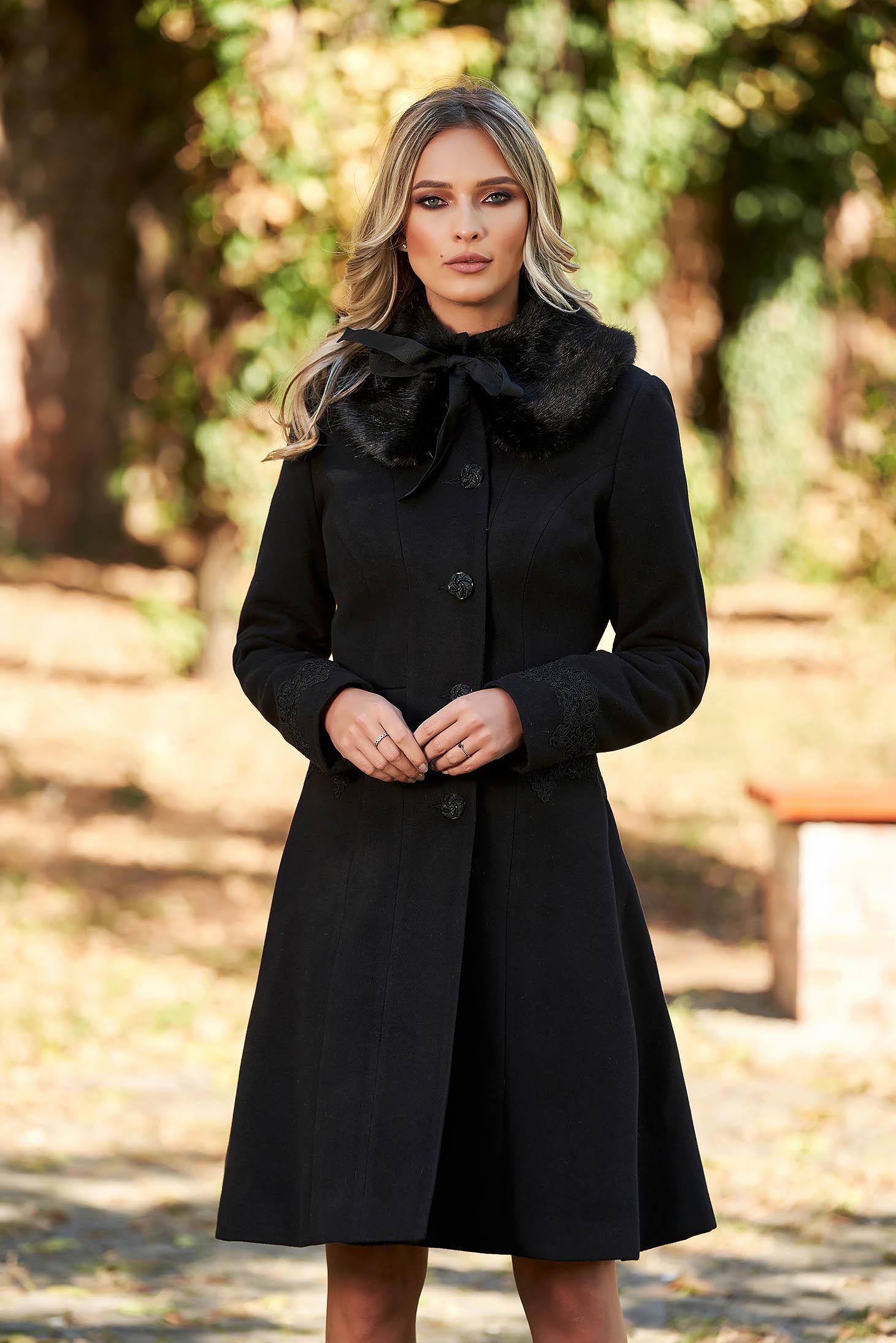 Palton negru StarShinerS best impulse elegant din lana cu insertii de broderie captusit pe interior
