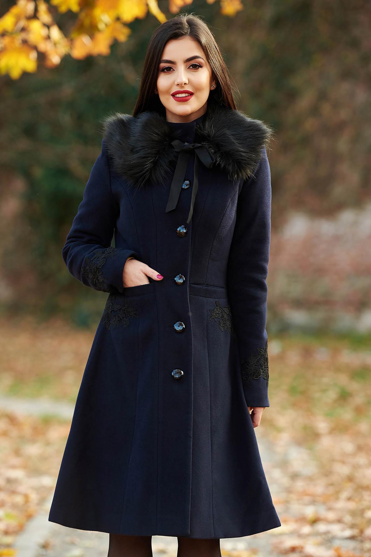 Palton LaDonna albastru-inchis Best Impulse elegant din lana cu insertii de broderie captusit pe interior cu buzunare