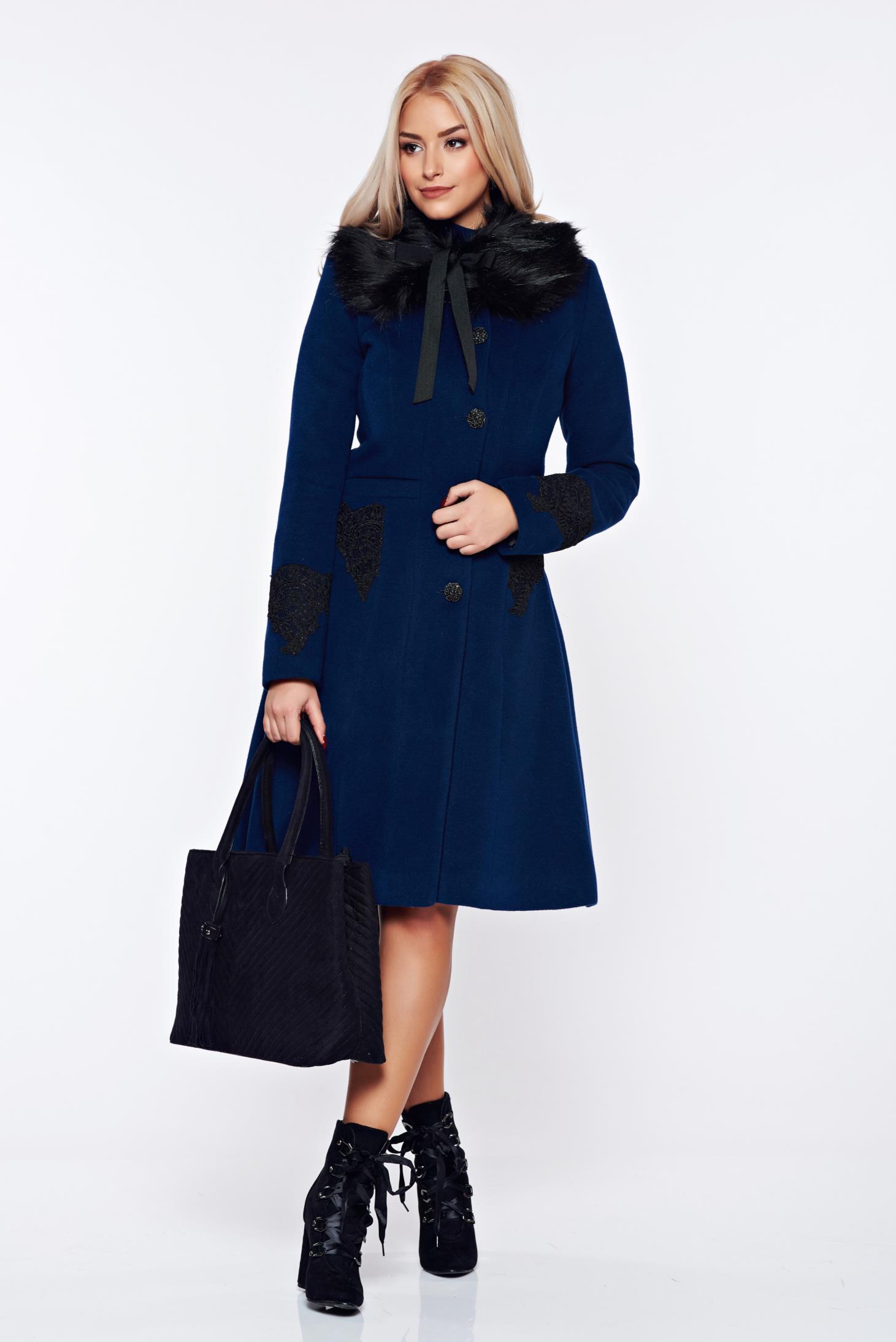 Palton LaDonna albastru-inchis best impulse elegant din lana brodat captusit pe interior