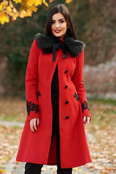 LaDonna best impulse elegant embroidered from wool with inside lining red coat