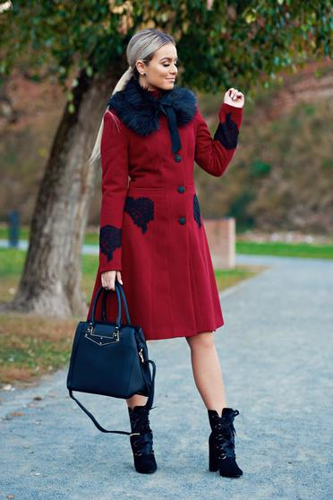 LaDonna best impulse elegant embroidered from wool with inside lining burgundy coat