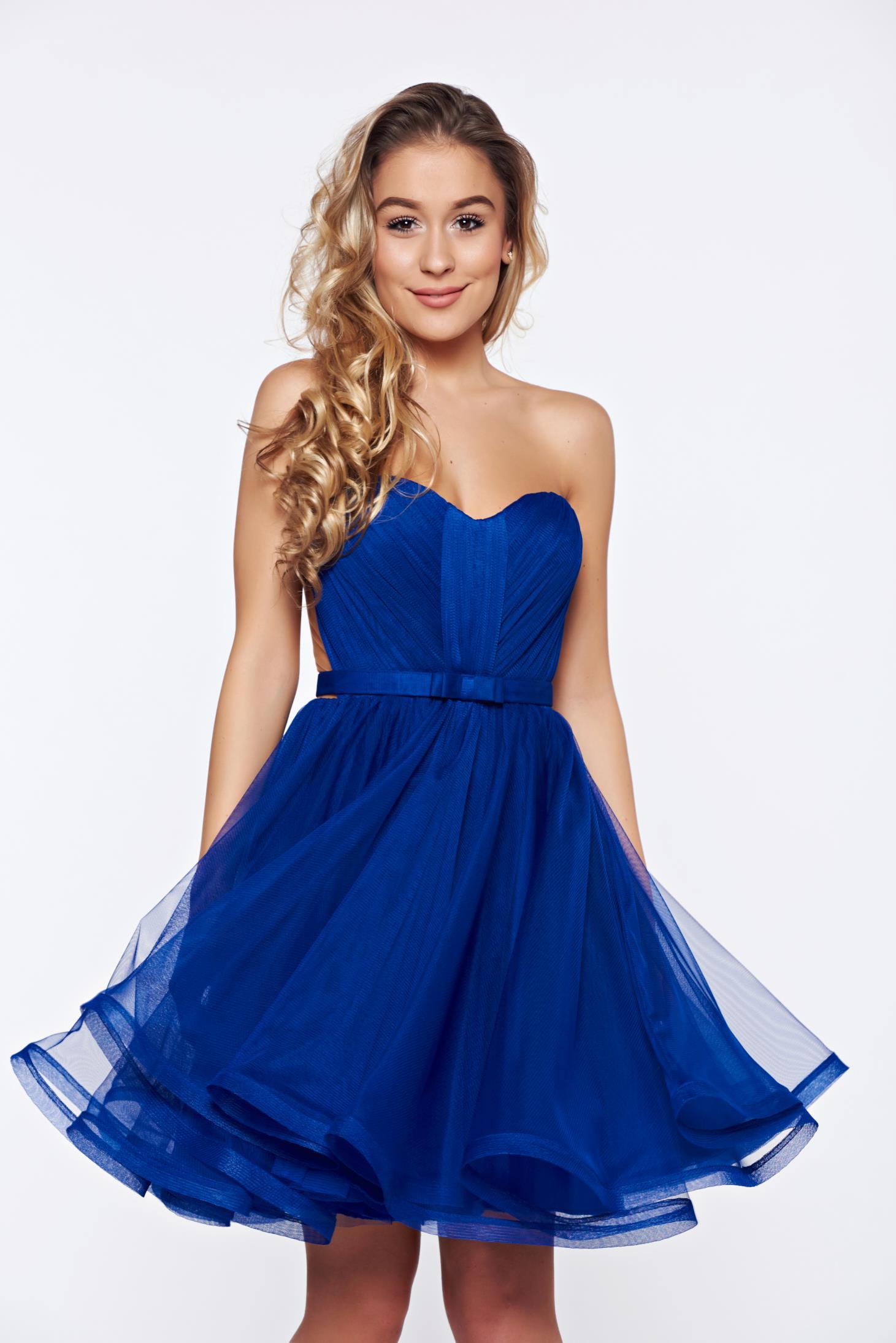 Kék alkalmi Ana Radu fűzős ruha szivacsos mellrész 18e5257ce3