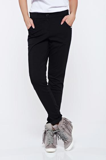 PrettyGirl casual black trousers with pockets with medium waist
