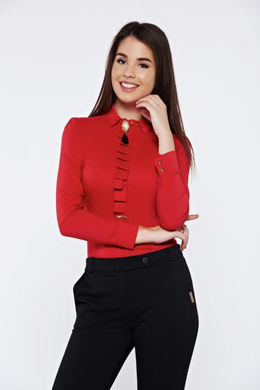 Fofy office accessorized with breastpin red women`s shirt elastic cotton with pointed collar