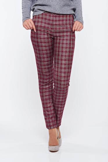 Fofy burgundy office plaid fabric trousers with medium waist