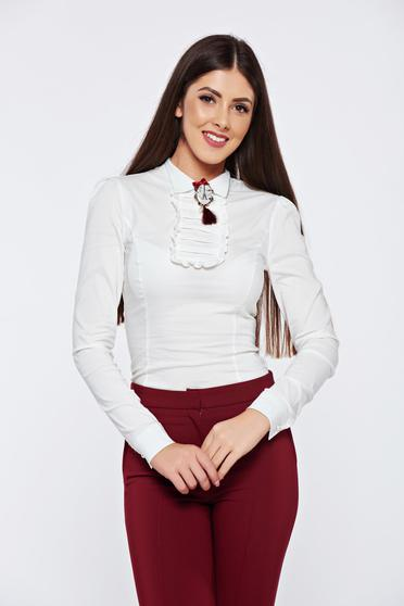 Fofy white office cotton women`s shirt accessorized with breastpin