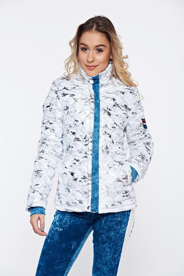 Ocassion silver casual jacket from slicker with metallic aspect with glitter details