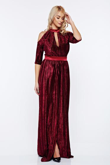 Artista burgundy occasional dress cut-out sleeves