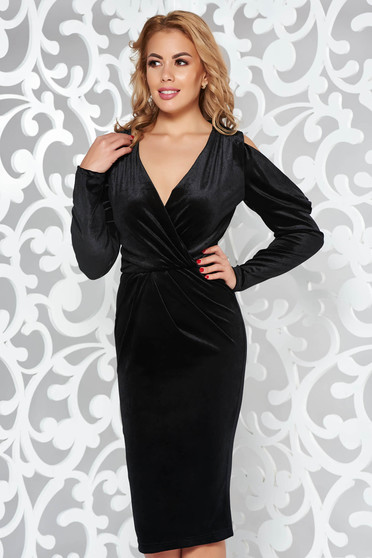 Artista black occasional from velvet pencil dress both shoulders cut out