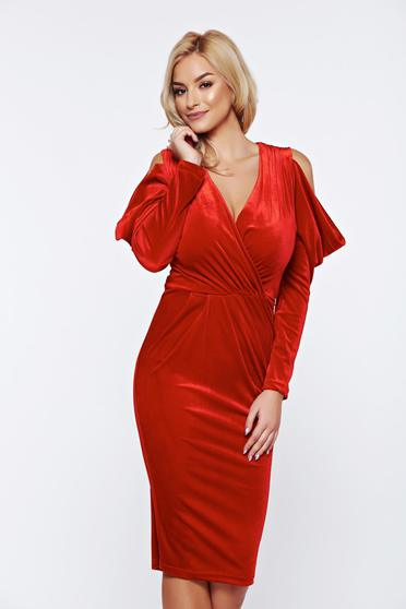 Artista red occasional from velvet pencil dress both shoulders cut out