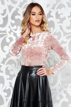StarShinerS rosa elegant velvet women`s blouse with large collar