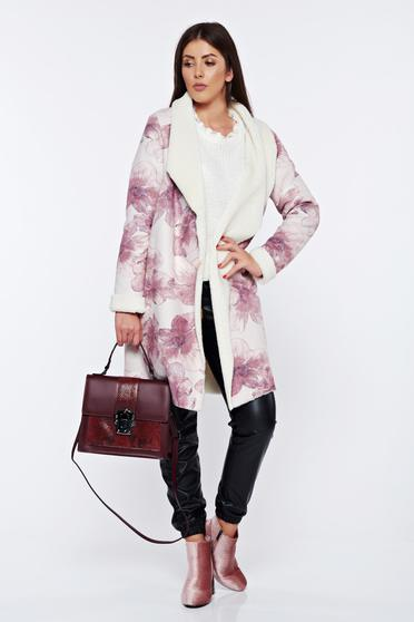 StarShinerS rosa casual fur from velour with faux fur lining with floral print