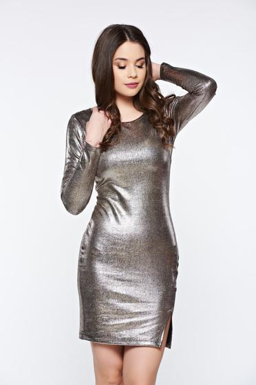 Top Secret gold dress clubbing from elastic fabric with metallic aspect