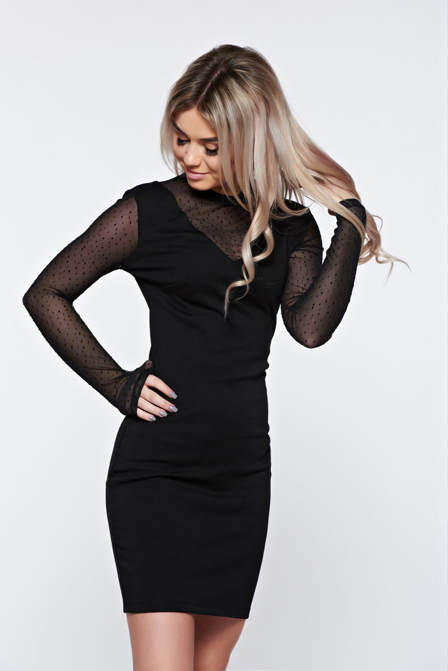 6fef0d2b00 Fekete Top Secret alkalmi hosszú ujjú dekoltált ruha
