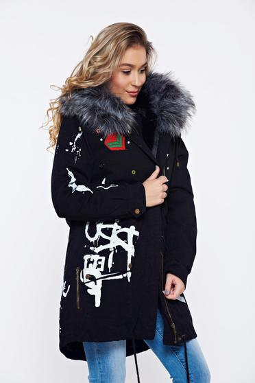 Black casual jacket with faux fur lining with furry hood