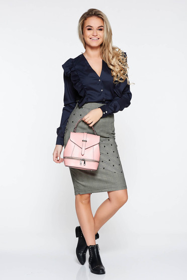 PrettyGirl darkblue office cotton women`s shirt with ruffles on the chest