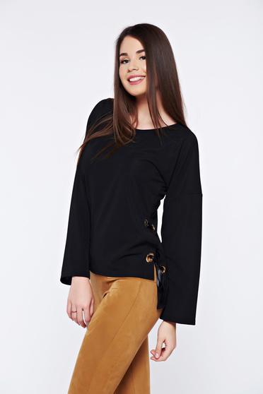 PrettyGirl black casual asymmetrical women`s blouse with ribbon fastening