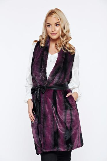 PrettyGirl purple casual gilet from ecological fur with pockets