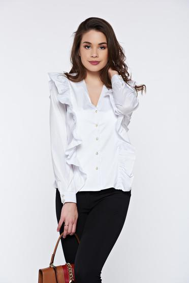 PrettyGirl white office cotton women`s shirt with ruffles on the chest