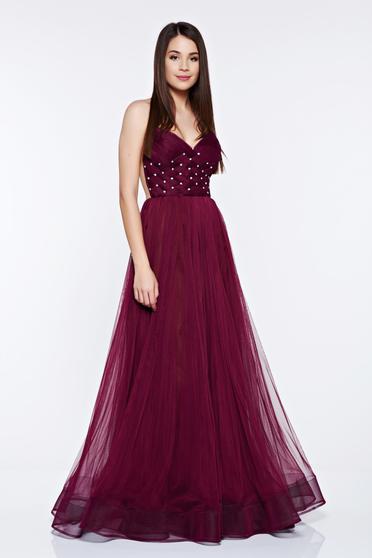 Ana Radu burgundy dress with push-up bra occasional strass