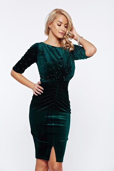 Artista green occasional dress from velvet with small beads embellished details